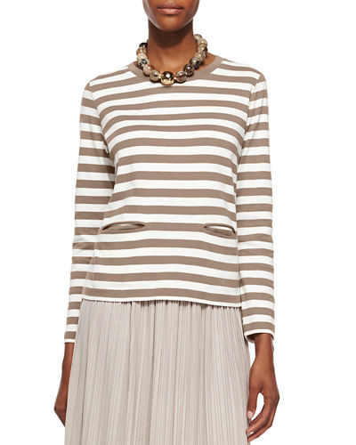 Joan Vass Plus Size Long-Sleeve Striped Top