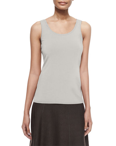 Petite Perfect Jersey Scoop-Neck Tank, Silver Cloud