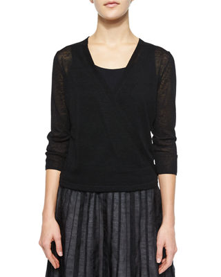 NIC+ZOE 4-Way Linen-Blend Knit Cardigan, Petite