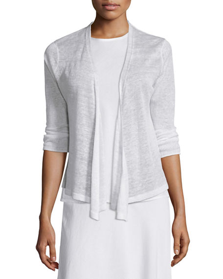 NIC+ZOE Plus Size 4-Way Linen-Blend Knit Cardigan