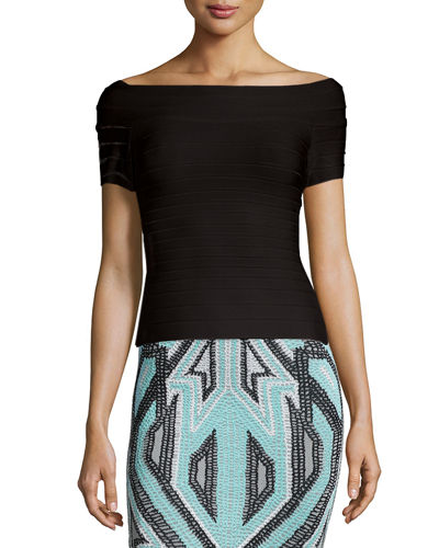 Herve Leger Geometric Pattern Bandage Crop Jacket,