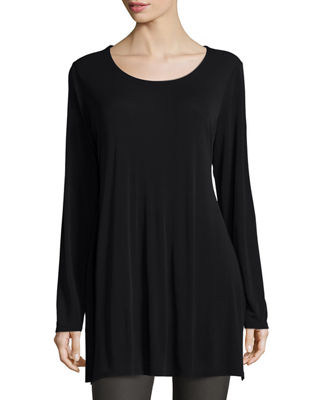 Eileen Fisher Silk Jersey Long-Sleeve Tunic