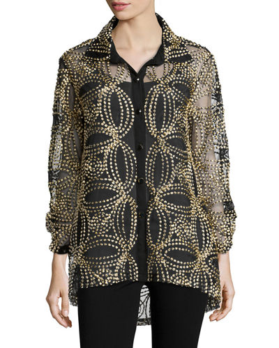 Seeds of Gold Sheer Blouse, Plus Size