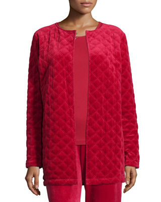 Joan Vass Quilted Velour Topper Jacket, Long-Sleeve Cotton