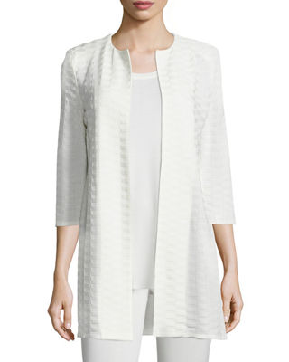 Image 1 of 2: Textured Long Open Jacket, Plus Size