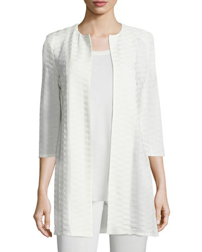 Textured Long Open Jacket, Plus Size