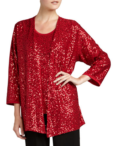 Caroline Rose Sequined Jacket, Tank & Knit Straight-Leg