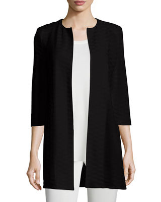 Image 1 of 2: Textured Long Open Jacket, Petite