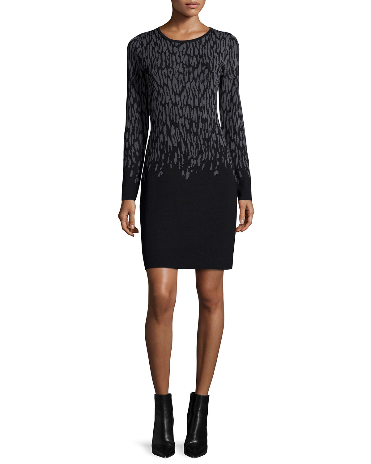 Crewneck Jacquard Long-Sleeve Dress