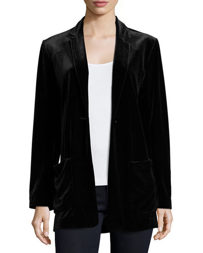 Petite Velvet Button-Front Jacket