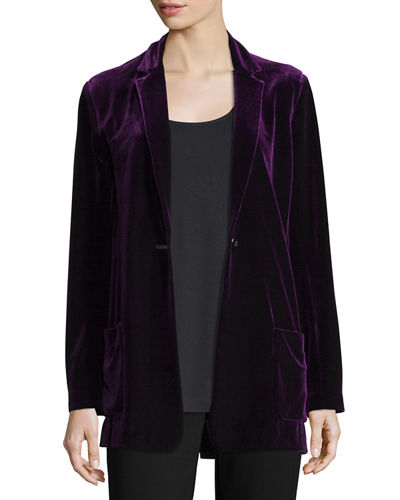 Joan Vass Velvet Button-Front Jacket & Basic Ribbed
