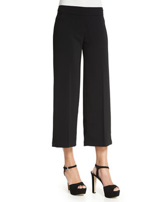 AVENUE MONTAIGNE Alex Wide-Leg Crop Pants in Black