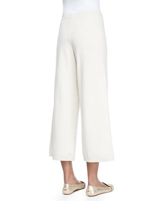 Silk-Cashmere Wide-Leg Pants, Plus Size
