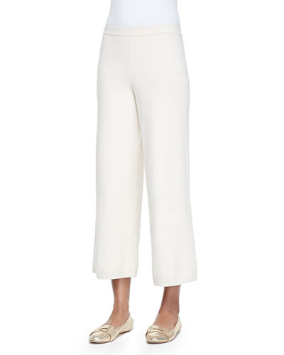 Joan Vass Silk-Cashmere Wide-Leg Pants, Plus Size