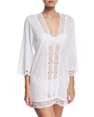 La Blanca Embroidered-Inset Tunic Coverup