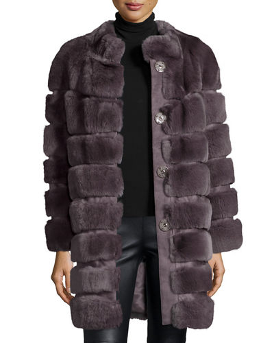 Horizontal Ribbed Rex Rabbit Fur Coat