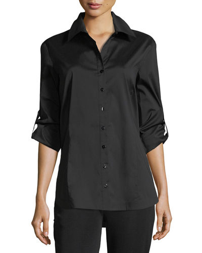 Plus Size Long-Sleeve Button-Front Shirt
