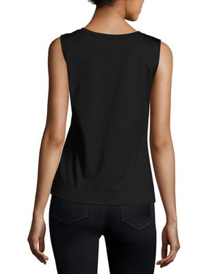 Image 2 of 2: Stretch Cotton Scoop Neck Tank