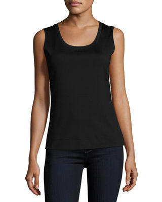Image 1 of 2: Stretch Cotton Scoop Neck Tank