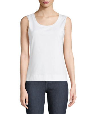 Lafayette 148 New York Stretch Cotton Scoop Neck