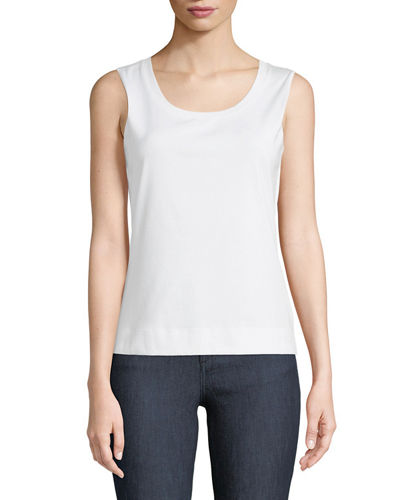 Stretch Cotton Scoop Neck Tank