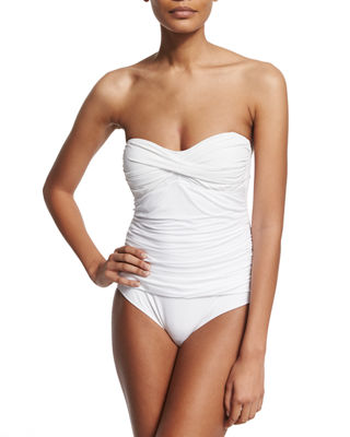 LETARTE Essentials Bandeau-Top One-Piece Swimsuit in White