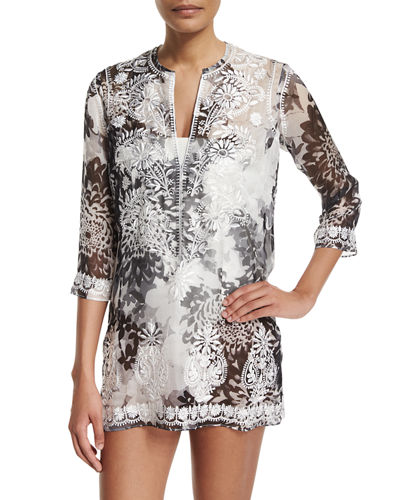 Marie France Van Damme Embroidered-Front Printed Short Tunic