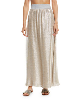 Marie France Van Damme Bright Metallic A-Line Maxi