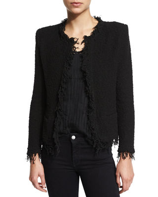 Iro Shavani Boucle Jacket, Sian Sheer Striped Tank
