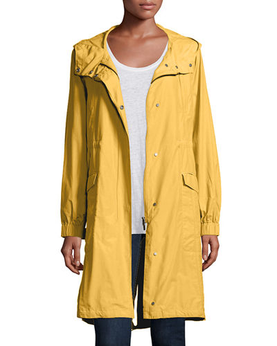 Hooded Long Anorak Jacket, Plus Size