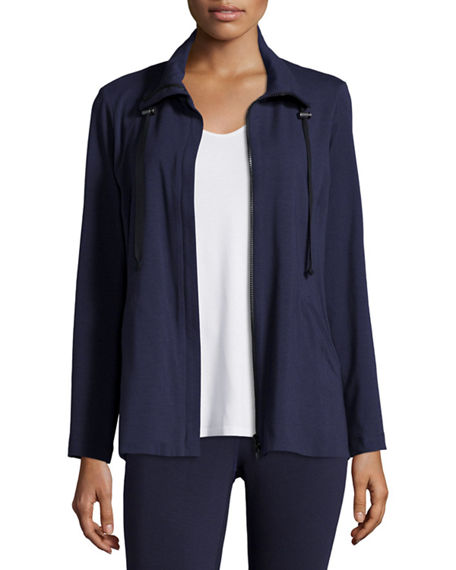 Eileen Fisher Petite High-Collar Stretch Jersey Jacket