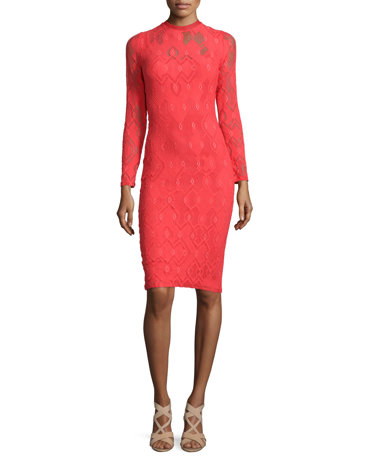 Long-Sleeve Crochet Sheath Dress