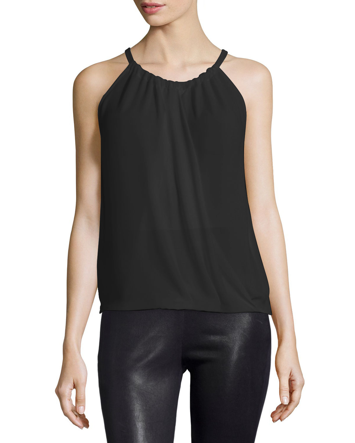 Cristine Wrap-Front Sleeveless Blouse, Black