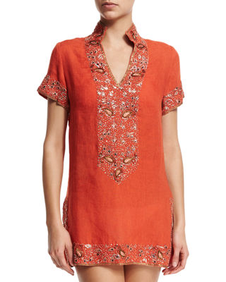 Viceroy Beaded Linen Short Coverup Tunic, Sunrise