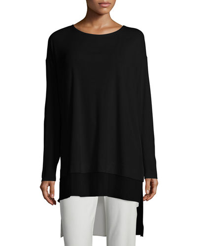 Eileen Fisher Long-Sleeve Layered Silk Tunic