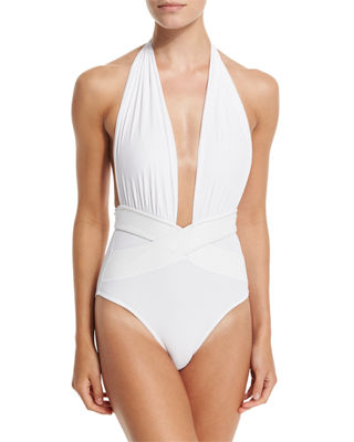 Roman Plunge-Neck One-Piece Swimsuit in White
