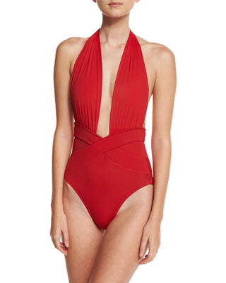 Roman Plunge-Neck One-Piece Swimsuit, White in Red