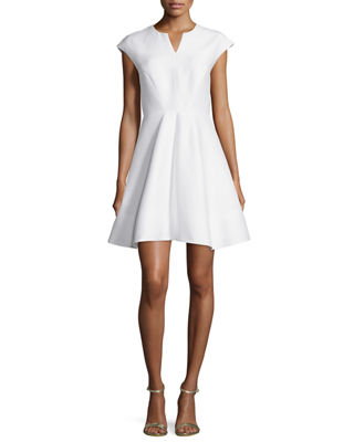 Halston Heritage Cap-Sleeve Structured Party Dress