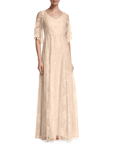 Donna Morgan Madeline Floral Lace A-line Gown