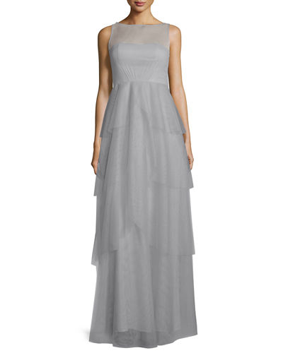 Donna Morgan Hyacinth Sleeveless Tiered Mesh Gown