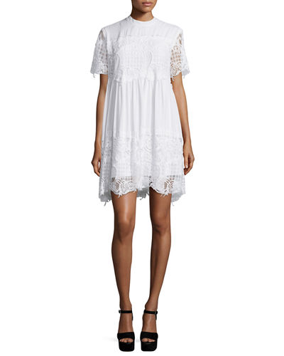 Short-Sleeve Lace Babydoll Dress