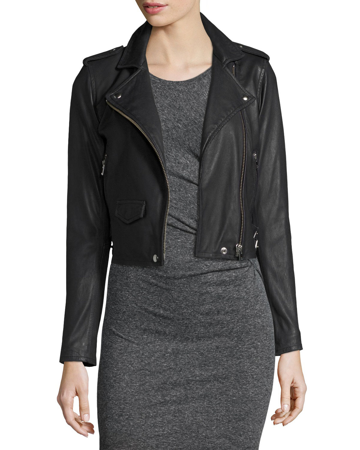 Iro Ashville Cropped Leather Jacket | Neiman Marcus