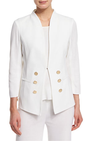 Misook Petite 3/4-Sleeve Button-Front Jacket