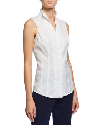 Misook Sleeveless Stretch-Cotton Shirt