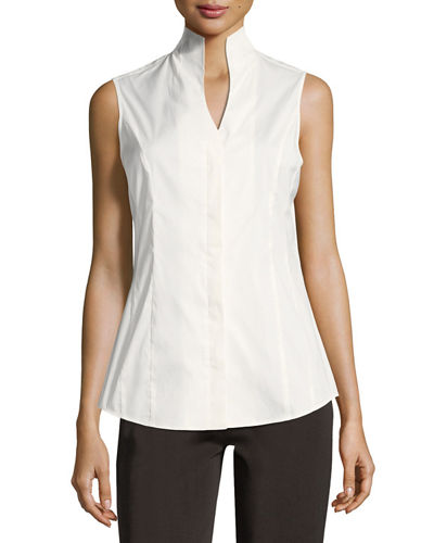Petite Sleeveless Stretch-Cotton Shirt