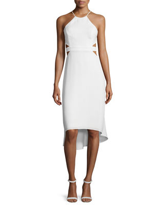 Halston Heritage Halter-Neck Dress W/Cutouts