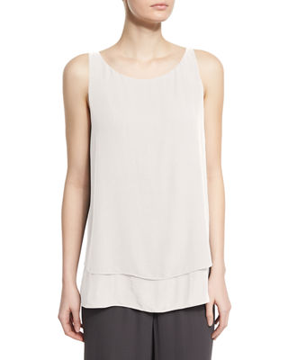 Eileen Fisher Georgette Shell W/ Layered Hem, Petite