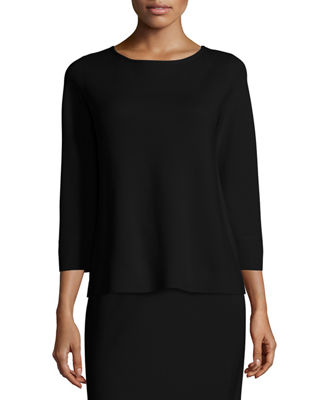 Eileen Fisher 3/4-Sleeve Silk/Cotton Interlock Box Top