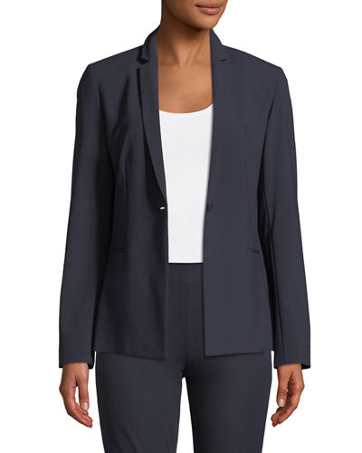 Elie Tahari Darcy One-Button Stretch-Wool Jacket, Anabella Silk