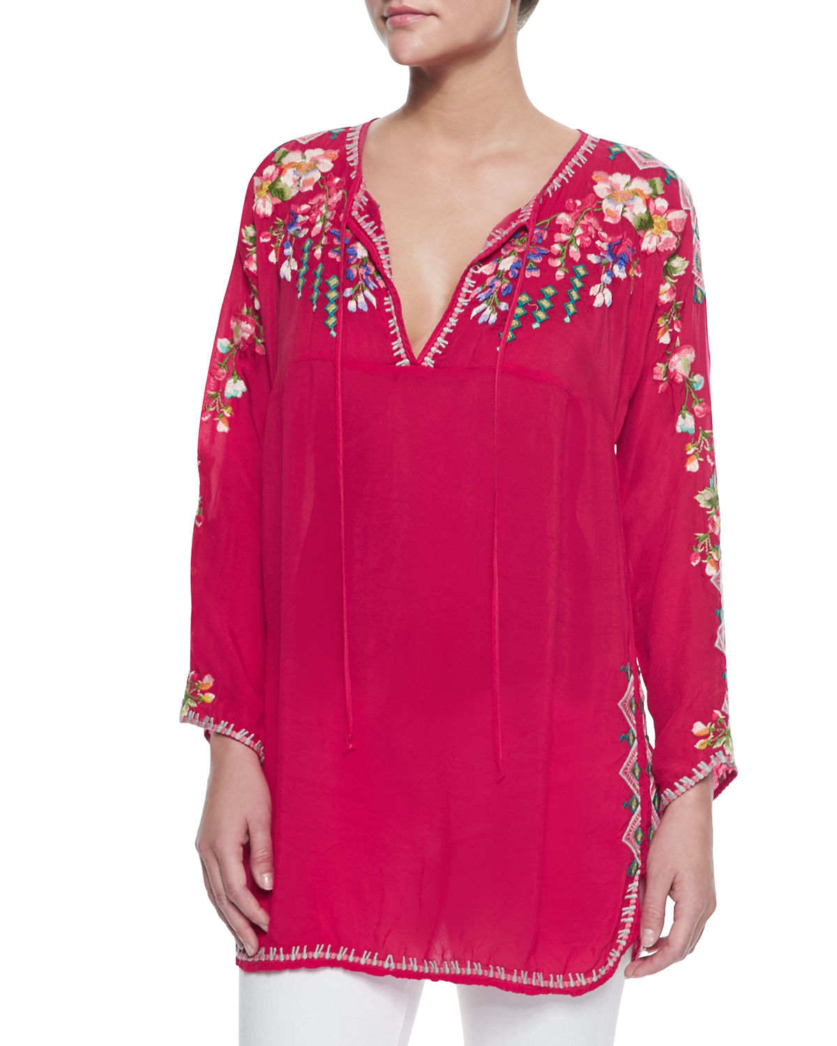 Neiman Marcus Pink Home Decor Ebth: Johnny Was Petite Vanessa Georgette Embroidered Tunic